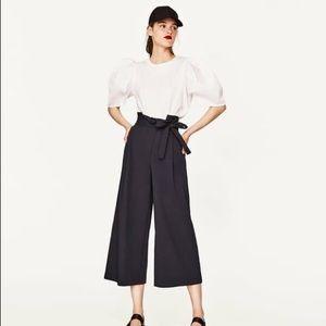 NWT Zara Voluminous Full Sleeve Cropped Blouse